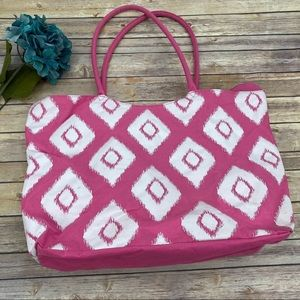 Large pink and white tote beach bag